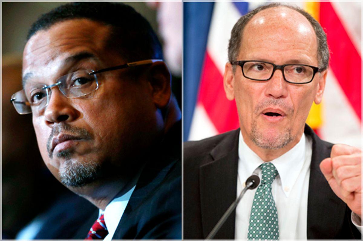 Keith Ellison; Tom Perez   (AP/David Zalubowski/Andrew Harnik)