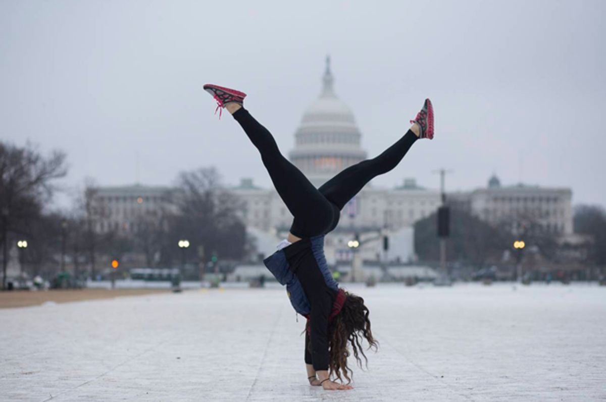 Yetta Stein from Portland does a handstand before the Women's March.   (Peter Cooper/Salon)