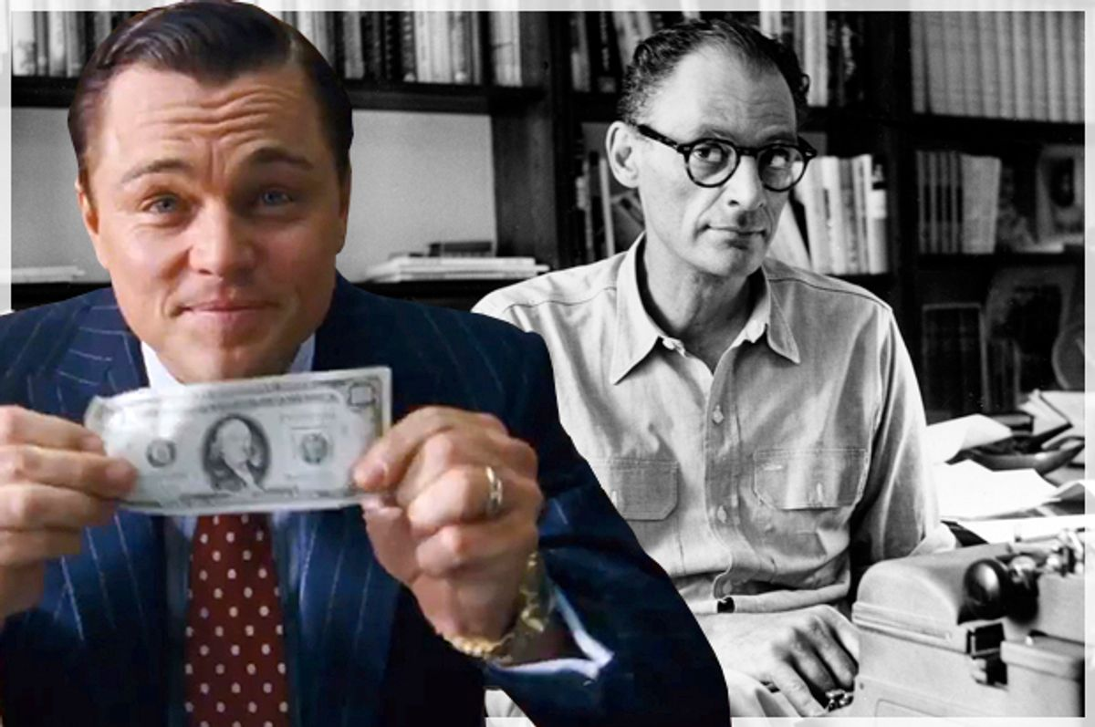 """Leonardo DiCaprio in """"The Wolf of Wall Street;"""" Arthur Miller   (AP/Paramount Pictures)"""
