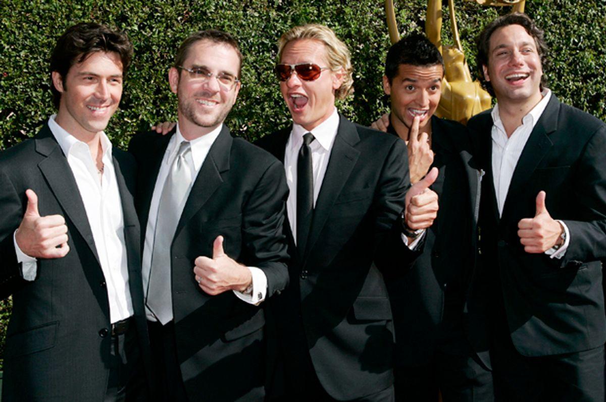 """Cast members of """"Queer Eye for the Straight Guy,"""" Sept. 11, 2005.   (AP/Kevork Djansezian)"""