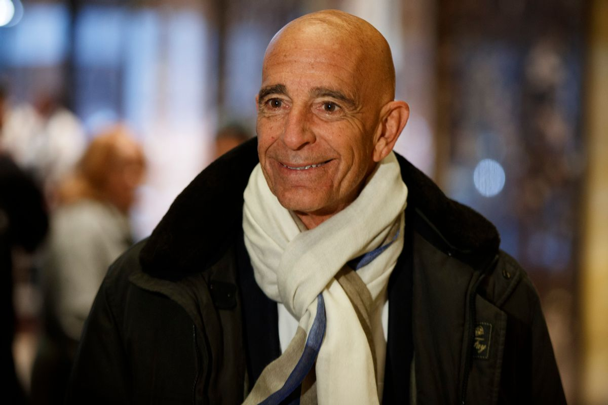 Tom Barrack, chairman of the inaugural committee, speaks with reporters in the lobby of Trump Tower in New York, Tuesday, Jan. 10, 2017, before meeting with President-elect Donald Trump. (AP Photo/Evan Vucci) (AP)