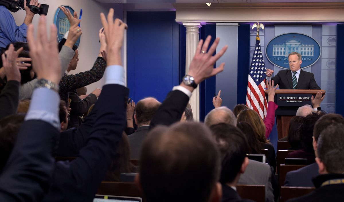 White House press secretary Sean Spicer calls on a reporter during the daily briefing at the White House in Washington, Wednesday, Jan. 25, 2017. Spicer answered questions about immigration, homeland security and other topics. (AP Photo/Susan Walsh) (AP)