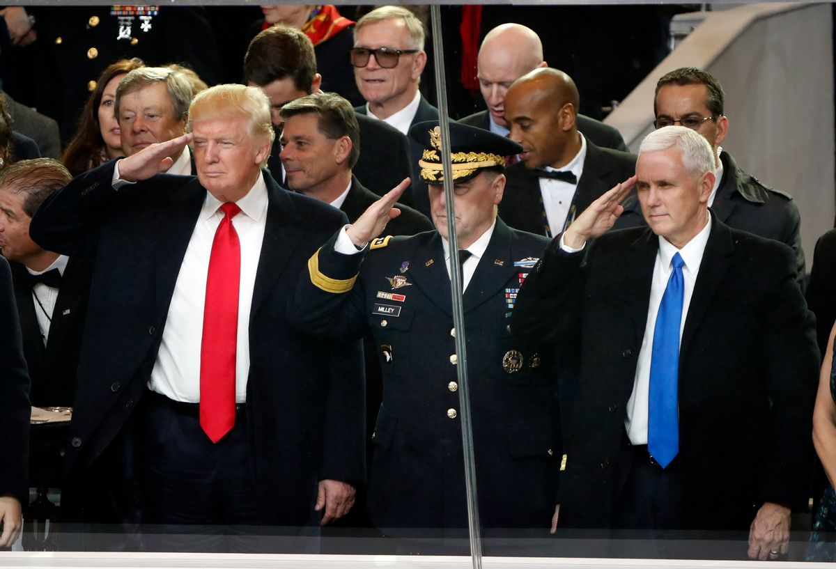 President Donald Trump salutes with Army Chief of Staff General Mark A. Milley and Vice President Mike Pence during the 58th Presidential Inauguration parade for President Donald Trump in Washington. Friday, Jan. 20, 2017 (AP Photo/Pablo Martinez Monsivais) (AP)