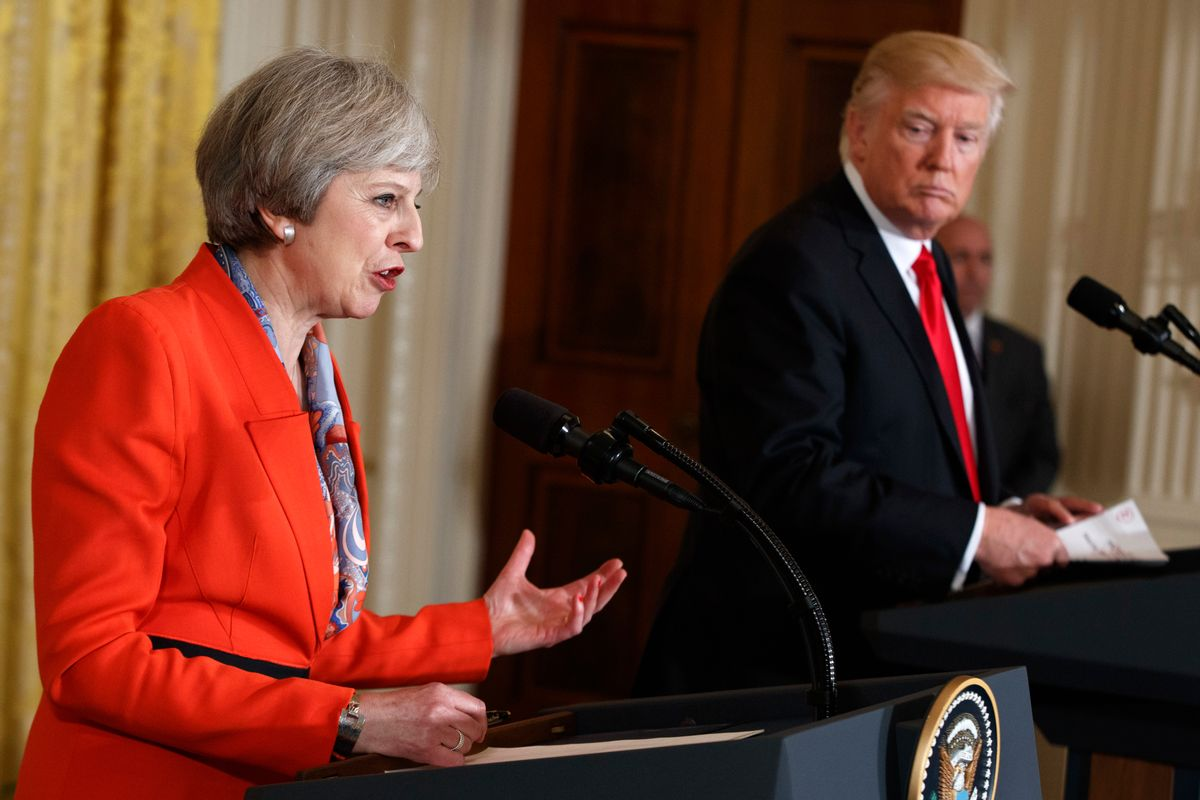 British Prime Minister Theresa May speaks during a news conference with President Donald Trump in the East Room of the White House in Washington, Friday, Jan. 27, 2017. (AP Photo/Evan Vucci) (AP)