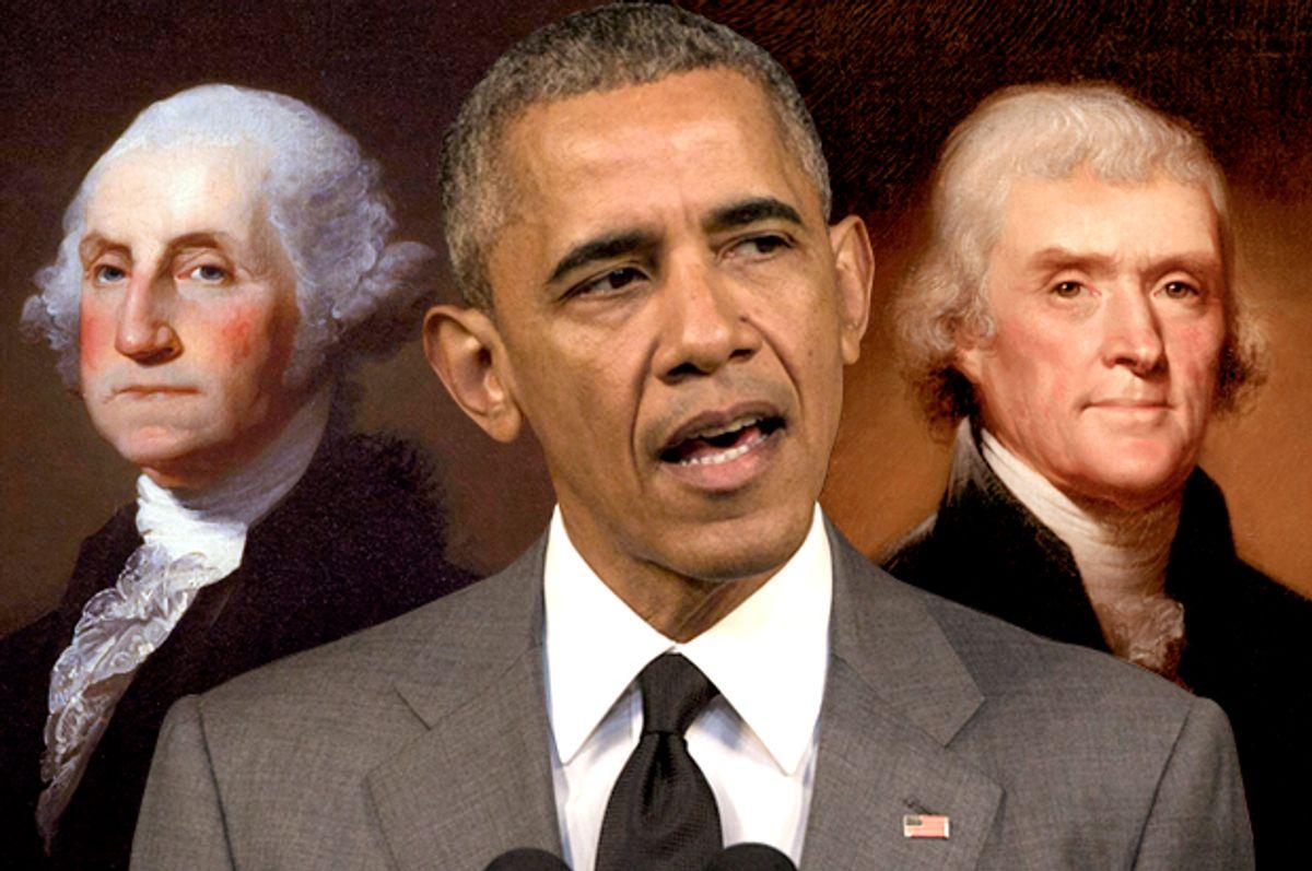 George Washington; Barack Obama; Thomas Jefferson   (Wikimedia/AP/Desmond Boyland/Salon)