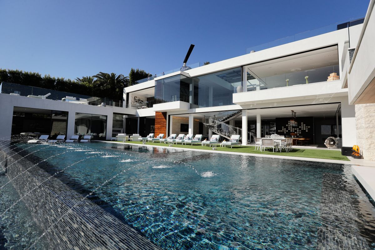 This Thursday, Jan. 26, 2017 photo shows an 85-foot infinity swimming pool at a $250 million mansion in the Bel-Air area of Los Angeles. At $250 million, the new mansion in the exclusive Bel-Air neighborhood of Los Angeles is the most expensive home listed in the U.S. (AP Photo/Jae C. Hong) (AP)