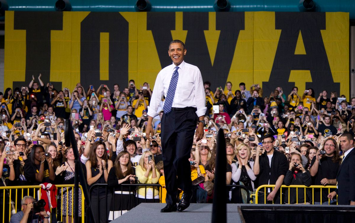 President Barack Obama arrives to speak at the University of Iowa, Wednesday, April 25, 2012, in Iowa City, Iowa.  (AP Photo/Carolyn Kaster)