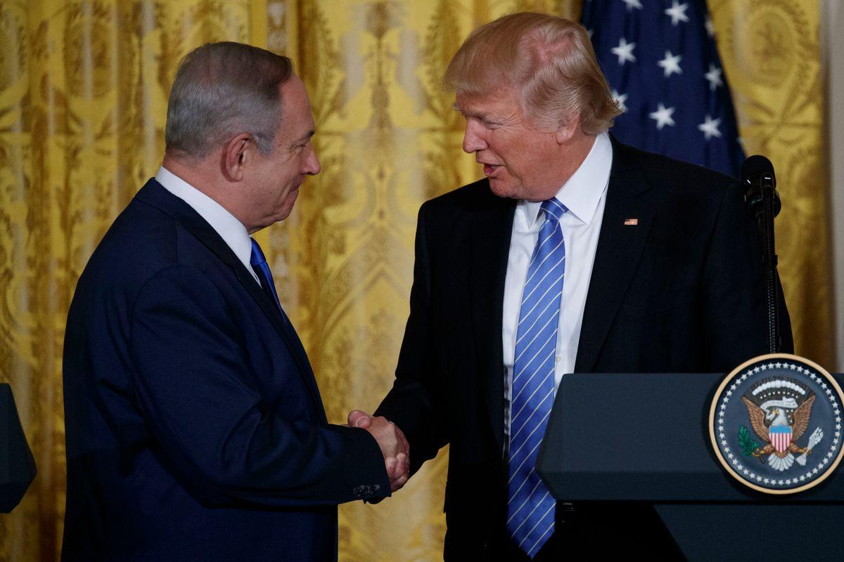 President Donald Trump shakes hands with Israeli Prime Minister Benjamin Netanyahu. (AP)