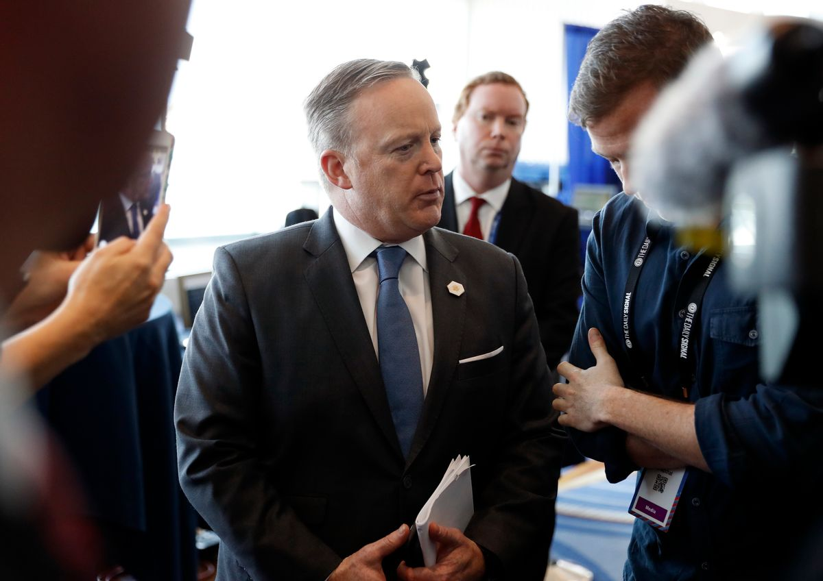 White House press secretary Sean Spicer does an interview at the Conservative Political Action Conference (CPAC), Friday, Feb. 24, 2017, in Oxon Hill, Md. (AP Photo/Alex Brandon) (AP)