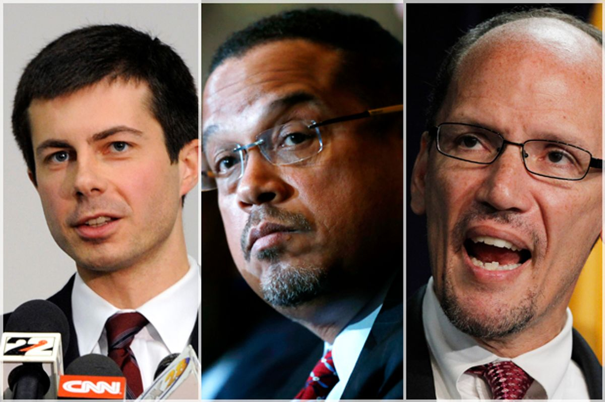 Pete Buttigieg; Keith Ellison; Tom Perez   (AP/Joe Raymond/David Zalubowski/Ross D. Franklin)