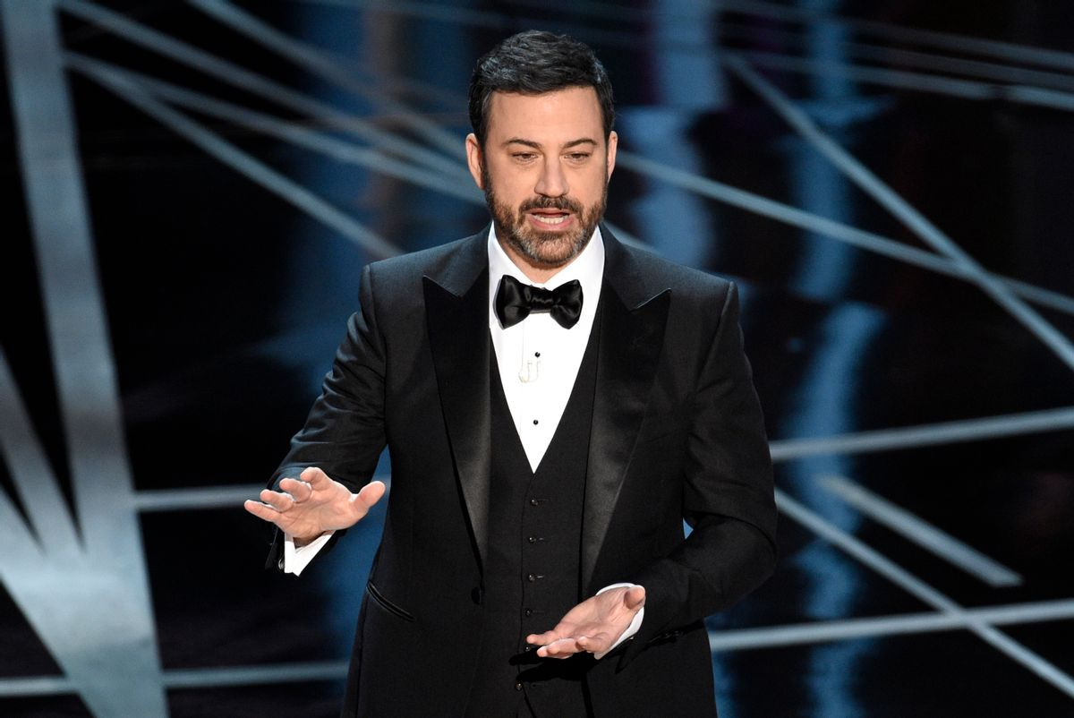 Host Jimmy Kimmel speaks at the Oscars on Sunday, Feb. 26, 2017, at the Dolby Theatre in Los Angeles. (Photo by Chris Pizzello/Invision/AP) (Chris Pizzello/invision/ap)