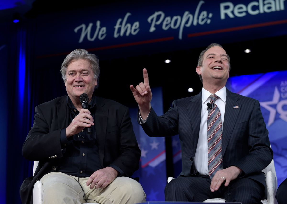 White House Chief of Staff Reince Priebus, right, accompanied by White House strategist Stephen Bannon, speaks at the Conservative Political Action Conference (CPAC) in Oxon Hill, Md., Thursday, Feb. 23, 2017. (AP Photo/Susan Walsh) (AP)