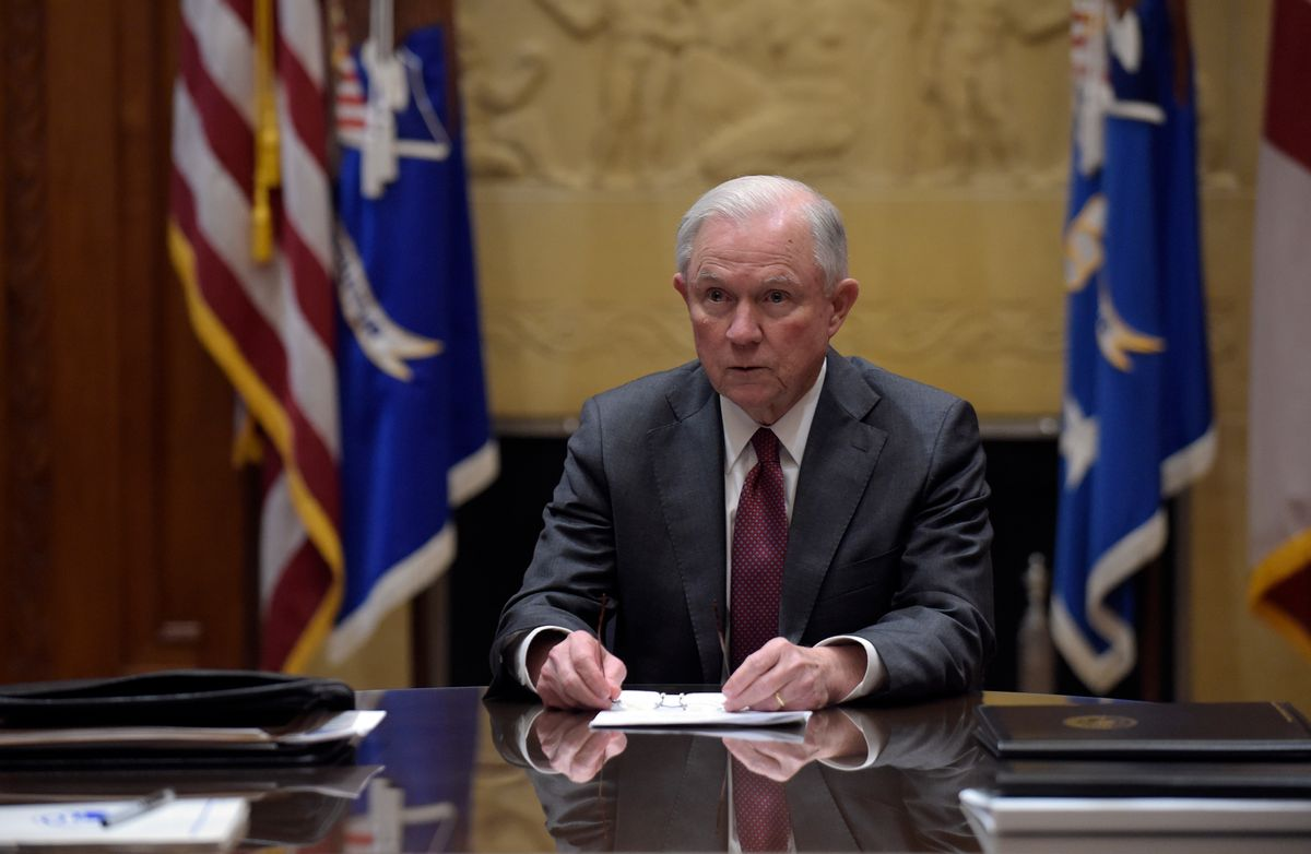 FILE - In this Feb. 9, 2017, file photo, Attorney General Jeff Sessions holds a meeting with the heads of federal law enforcement components at the Department of Justice in Washington. When President Donald Trump spoke to the National Prayer Breakfast this month, he underscored his vow to defend the religious rights of the conservative Christians who helped propel him to power. Now, they expect the Justice Department under Sessions will reposition itself as a champion of what they see as that religious freedom. (AP Photo/Susan Walsh, Pool) ((AP Photo/Susan Walsh, Pool)
