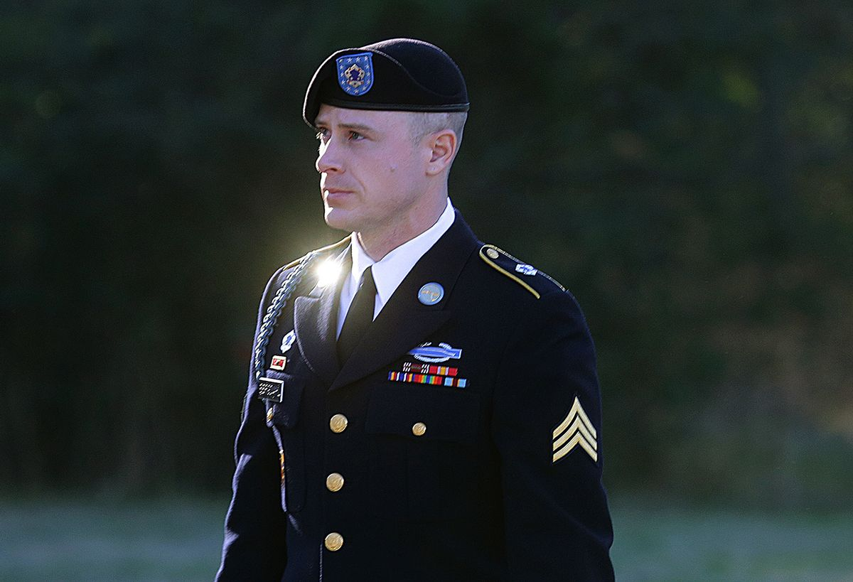 FILE - In this Jan. 12, 2016, file photo, Army Sgt. Bowe Bergdahl arrives for a pretrial hearing at Fort Bragg, N.C.  Bergdahl and his attorneys have arrived at a courthouse Monday, Feb. 13, 2017, where they'll try to convince a military judge that President Donald Trump violated Bergdahl's due process rights. Bergdahl is scheduled for trial in April. He is accused of endangering the lives of soldiers who searched for him after he walked off his post in Afghanistan in 2009.(AP Photo/Ted Richardson, File) (AP)
