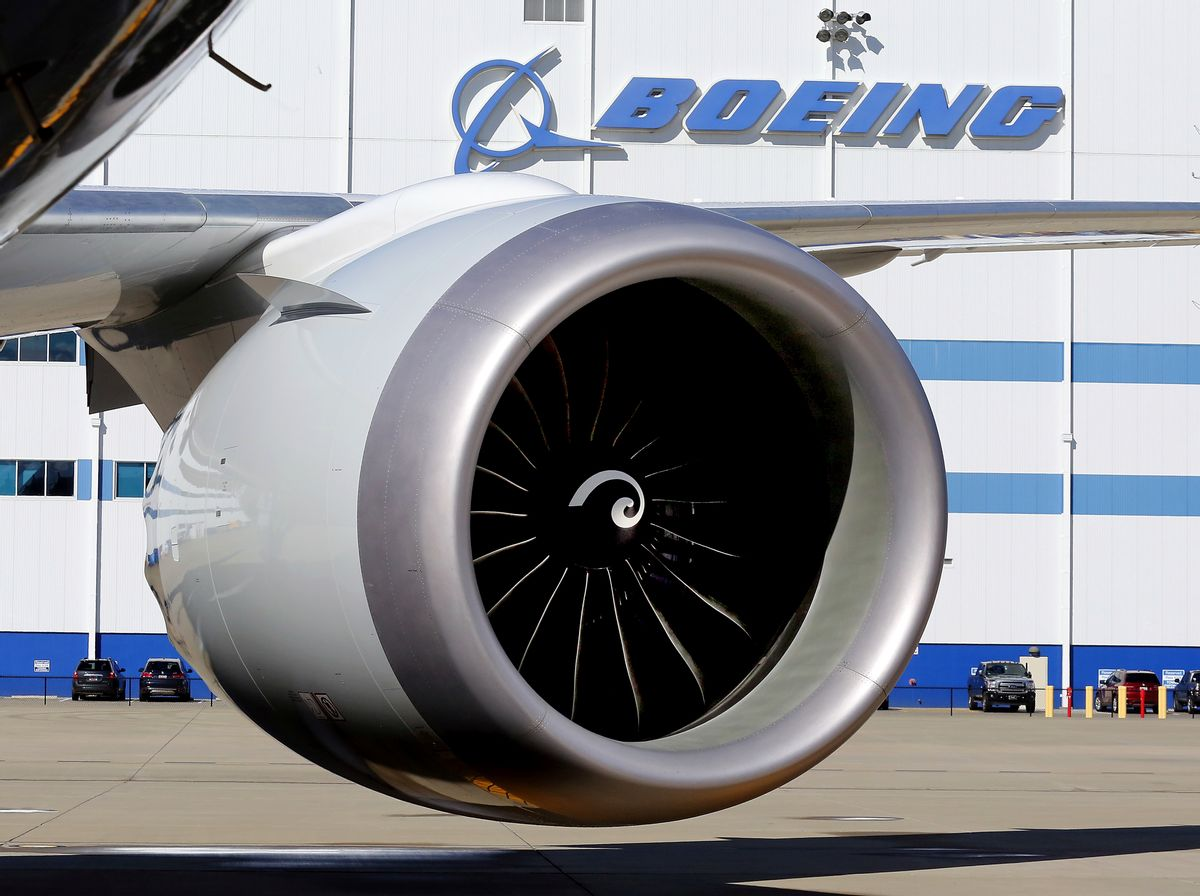 FILE - In this Tuesday, Feb. 16, 2016 file photo, An engine and part of a wing from the 100th 787 Dreamliner to be built at Boeing of South Carolina's North Charleston, S.C., facility are seen outside the plant.  (Brad Nettles/The Post and Courier via AP, File) (AP)