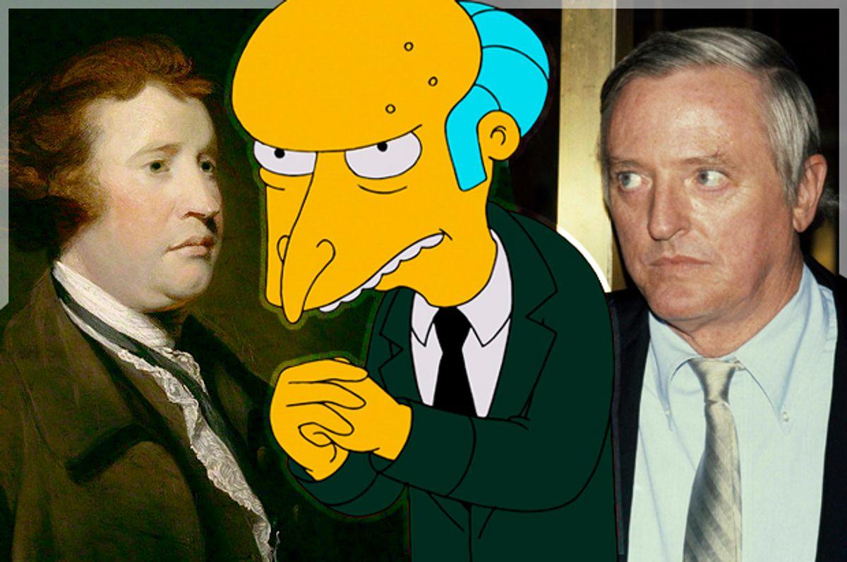 Edmund Burke; Charles Montgomery Burns, William F. Buckley, Jr.   (Wikimedia/Fox/AP/Nancy Kaye/Photo montage by Salon)
