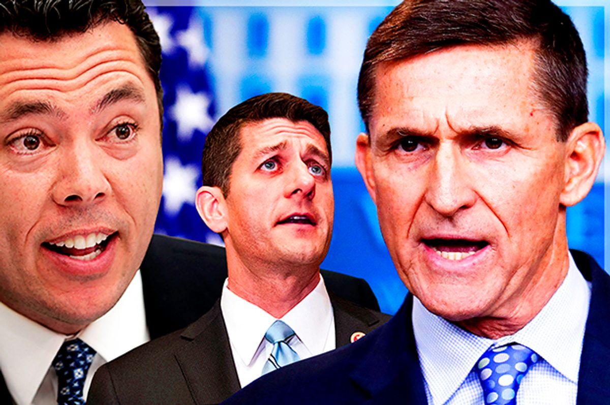 Jason Chaffetz; Paul Ryan; Michael Flynn   (Getty/Chip Somodevilla/AP/J. Scott Applewhite/Carolyn Kaster/Photo montage by Salon)