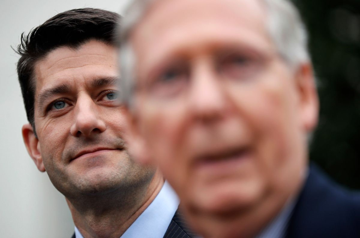 House Speaker Paul Ryan of Wis. listens at left as Senate Majority Leader Mitch McConnell of Ky. speaks to reporters outside the White House in Washington, Monday, Feb. 27, 2017, following their meeting with President Donald Trump inside. (AP Photo/Pablo Martinez Monsivais) (AP)