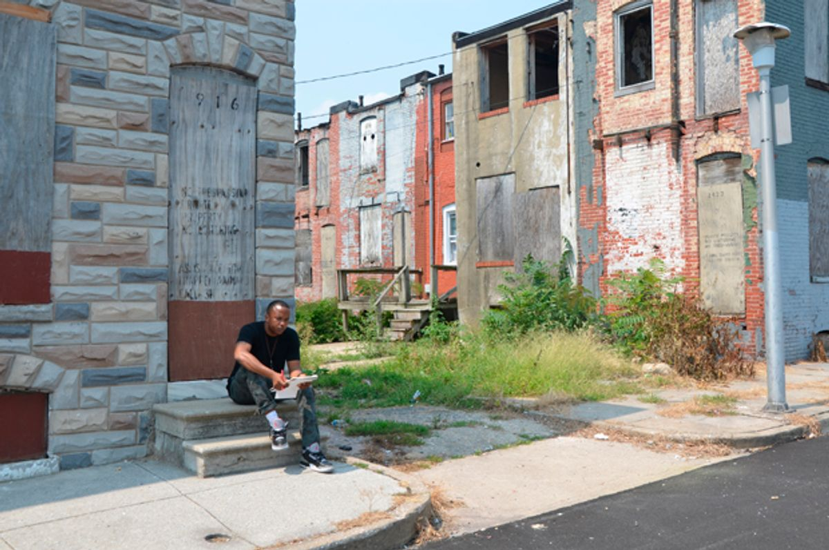 A photo of the author in East Baltimore.