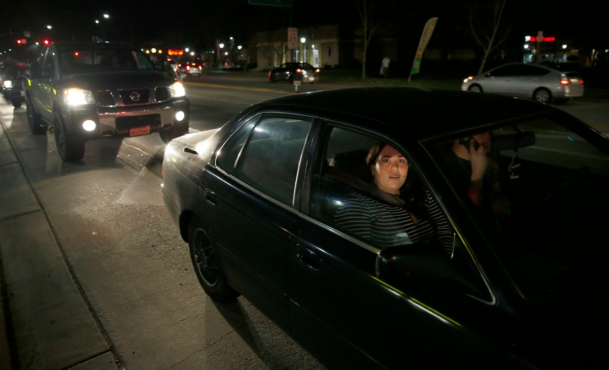Kendra Curieo waits in traffic to evacuate Marysville, Calif., Sunday, Feb. 12, 2017. Thousands of residents of Marysville and other Northern California communities were told to leave their homes Sunday evening as an emergency spillway of the Oroville Dam could fail at any time unleashing flood waters from Lake Oroville, according to officials from the California Department of Water Resources. (AP Photo/Rich Pedroncelli) (AP)