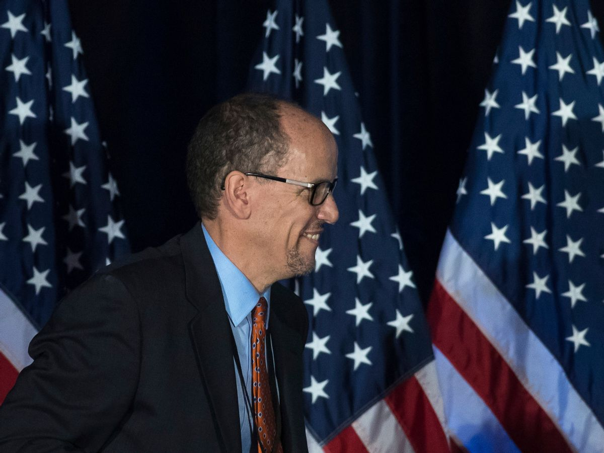 Former Labor Secretary Tom Perez, who is a candidate to run the Democratic National Committee, before speaking during the general session of the DNC winter meeting in Atlanta, Saturday, Feb. 25, 2017. (AP Photo/Branden Camp) (AP)