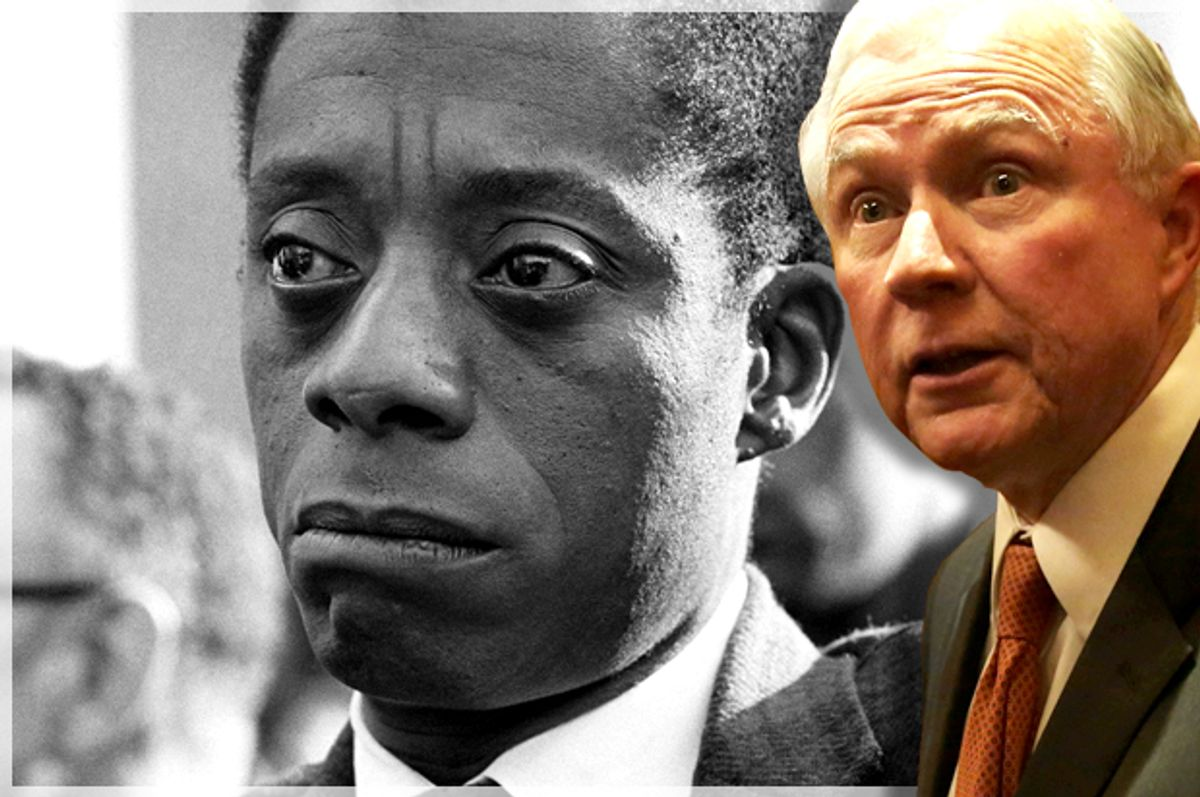 """Jeff Sessions; James Baldwin in """"I Am Not Your Negro""""   (Getty/Alex Wong/Magnolia Pictures)"""