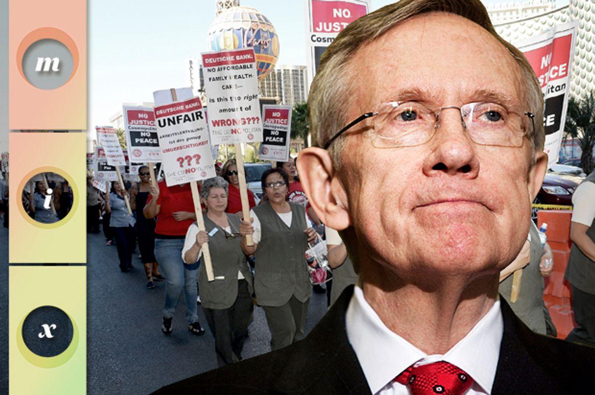 Harry Reid; Union workers picketing on the Las Vegas Strip, June 14, 2013.   (Getty/Brendan Smialowski/Ethan Miller/Photo montage by Salon)