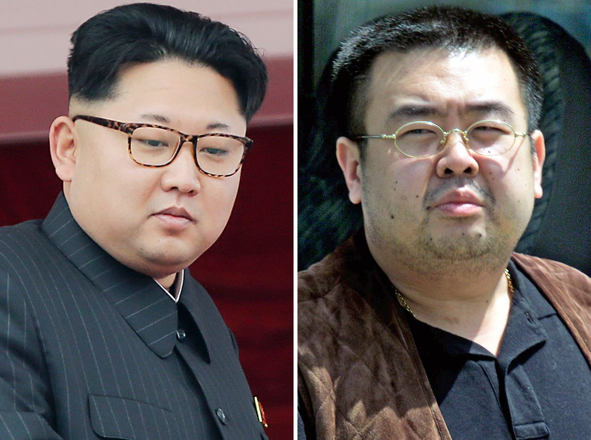 FILE - This combination of file photos shows North Korean leader Kim Jong Un, left, on May 10, 2016, in Pyongyang, North Korea, and Kim Jong Nam, right, exiled half brother of Kim Jong Un, in Narita, Japan, on May 4, 2001. South Korea's spy agency believes that Kim Jong Nam was assassinated this week in a Malaysian airport as part of a five-year plot by Kim Jong Un to kill a brother he reportedly never met. If this is right, the motive likely has more to do with their shared bloodlines - and that volcano - than any specific transgression. (AP Photos/Wong Maye-E, Shizuo Kambayashi, File) (AP)