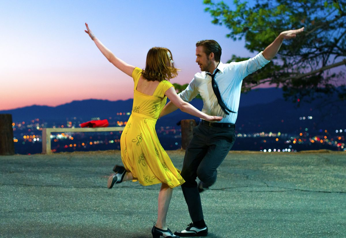 """This image released by Lionsgate shows Ryan Gosling, right, and Emma Stone in a scene from, """"La La Land."""" The film is nominated for an Oscar for best picture. The 89th Academy Awards will take place on Feb. 26. (Dale Robinette/Lionsgate via AP) (AP)"""