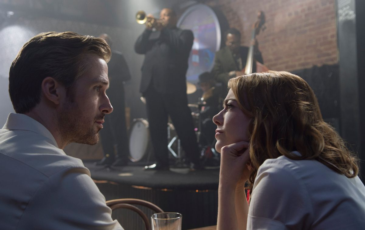 """This image released by Lionsgate shows Ryan Gosling, left, and Emma Stone in a scene from, """"La La Land.""""  The film was nominated for an Oscar for best feature film. The 89th Academy Awards will take place on Feb. 26.  (Dale Robinette/Lionsgate via AP) (AP)"""