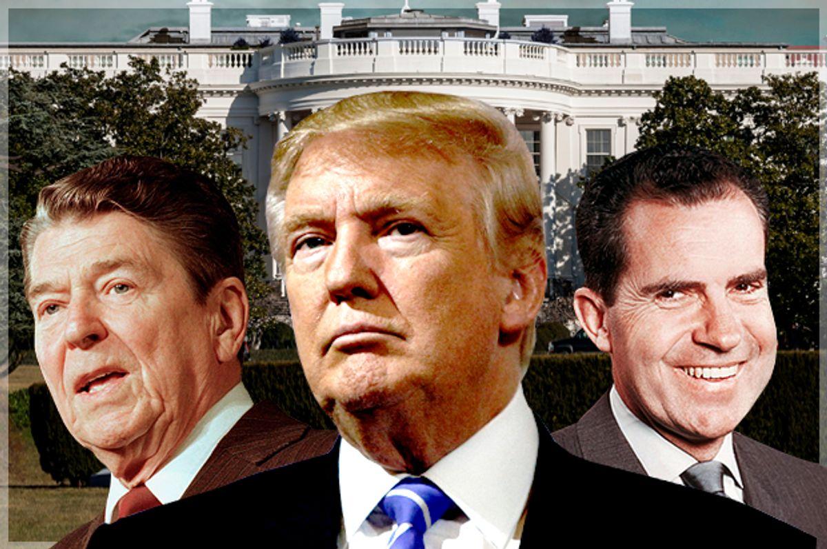 Ronald Reagan; Donald Trump; Richard Nixon   (AP/Reuters/Eric Thayer/Photo montage by Salon)