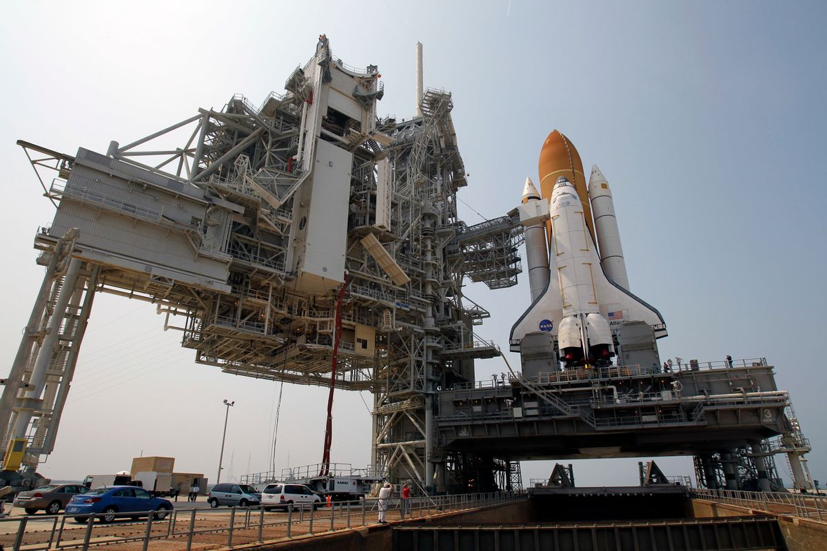 FILE - In this Friday, June 17, 2011 file photo, space shuttle Atlantis is mounted on Pad 39A at the Kennedy Space Center in Cape Canaveral, Fla. Dormant for nearly six years, Launch Complex 39A at NASA's Kennedy Space Center should see its first commercial flight on Feb. 18, 2017. A SpaceX Falcon 9 rocket will use the pad to hoist supplies for the International Space Station. (AP Photo/John Raoux) (AP)