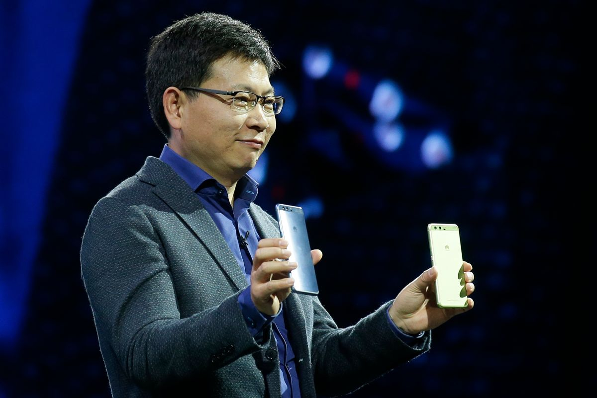 Chief executive officer of consumer devices division for Huawei Technologies Co. Richard Yu presents the new phone Huawei P10 Plus before the Mobile World Congress in Barcelona, Spain, Sunday, Feb. 26, 2017.  (AP Photo/Manu Fernandez) (AP)