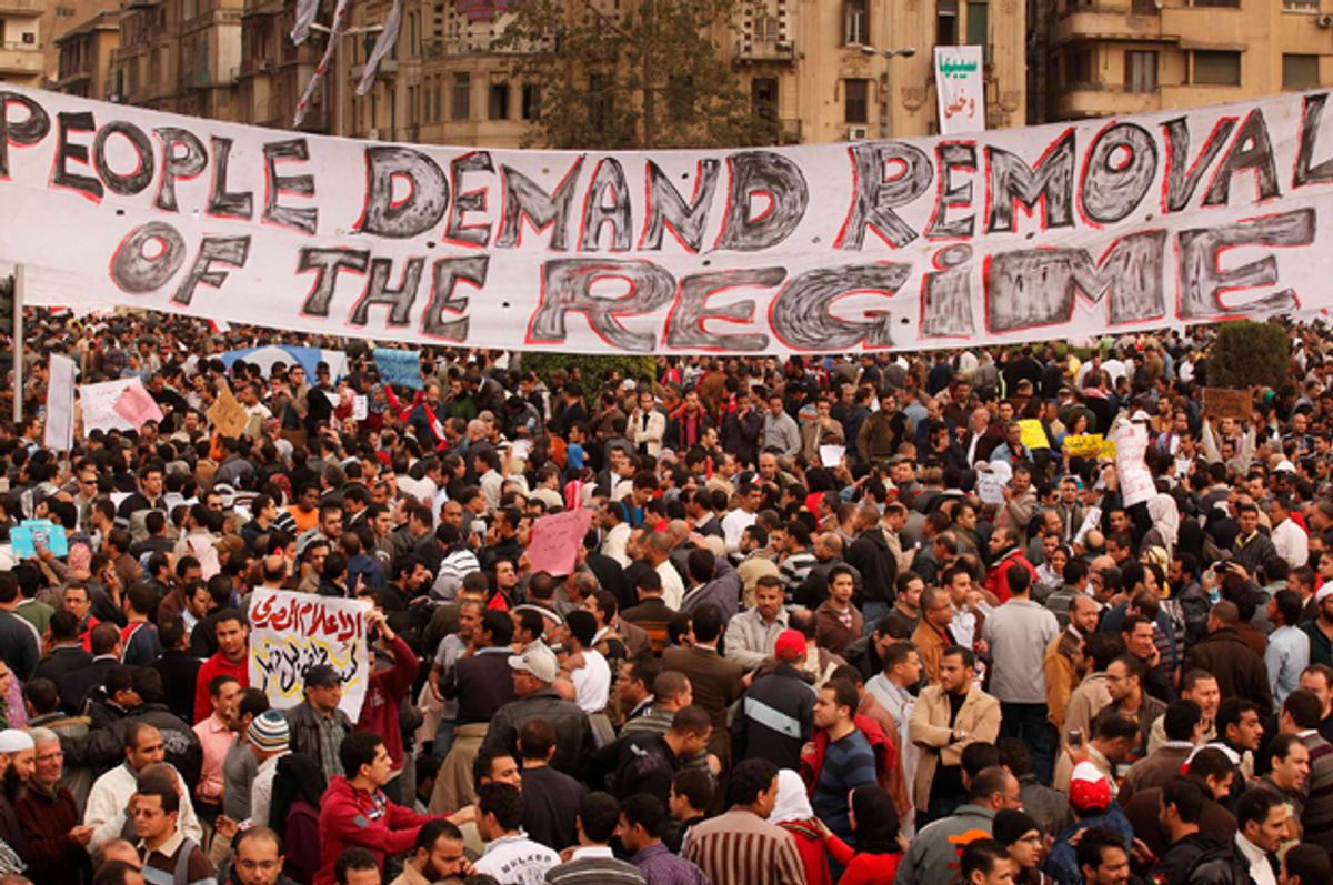 Protestors gather in Tahrir Square on February 1, 2011 in Cairo, Egypt   (Getty/Peter Macdiarmid)