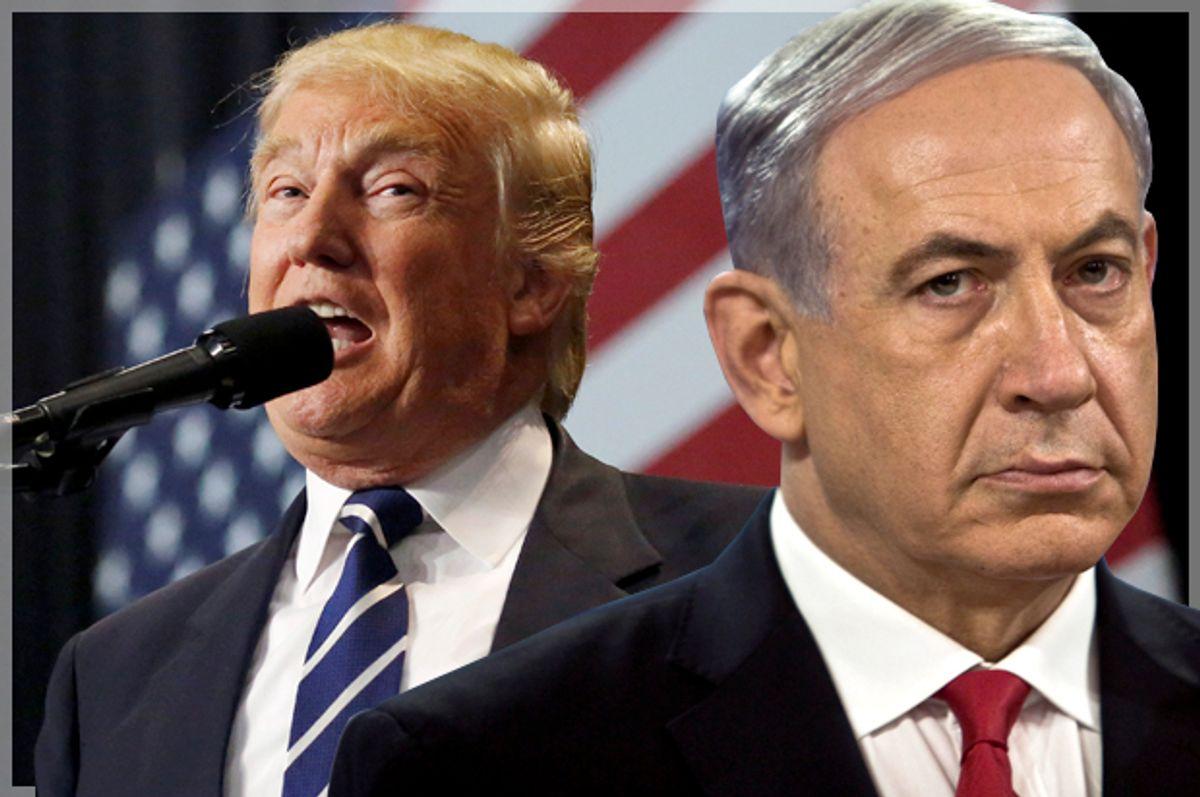 Donald Trump; Benjamin Netanyahu   (Reuters/Shannon Stapleton/Nir Elias/Photo montage by Salon)