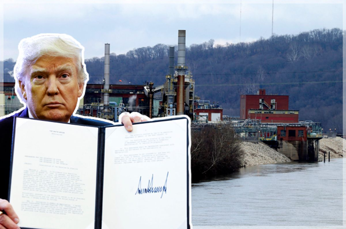 Donald Trump; A manufacturing plant is located along the banks of the Kanawaha River in South Charleston, W.Va.   (Getty/Shawn Thew/AP/Steve Helber)