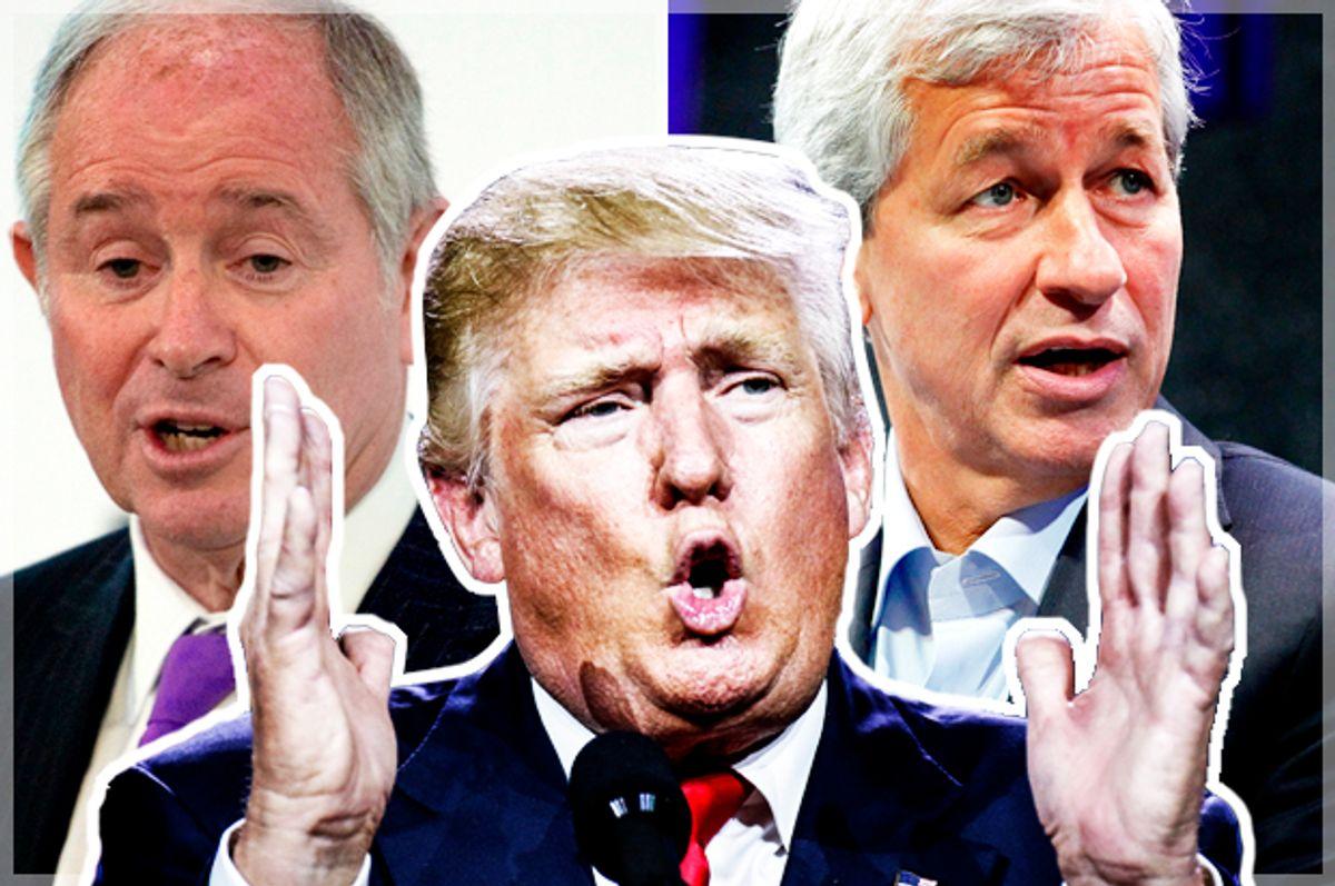 Donald Trump; Steve Schwarzman; Jamie Dimon   (Getty/Marc Piscotty/Nicolas Asfouri/Kimberly White)
