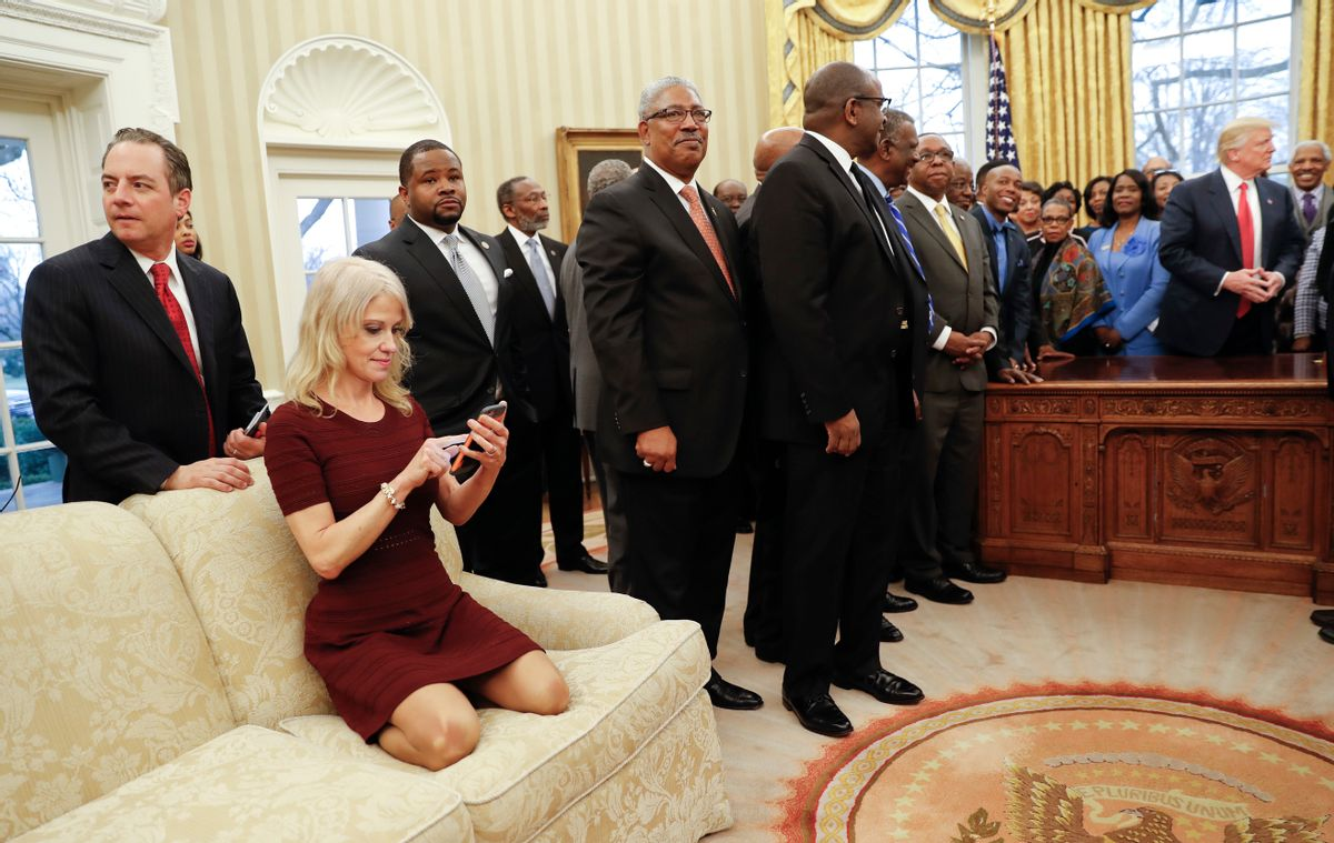 Counselor to the President Kellyanne Conway in a 2.28.17 Oval Office meeting (AP)