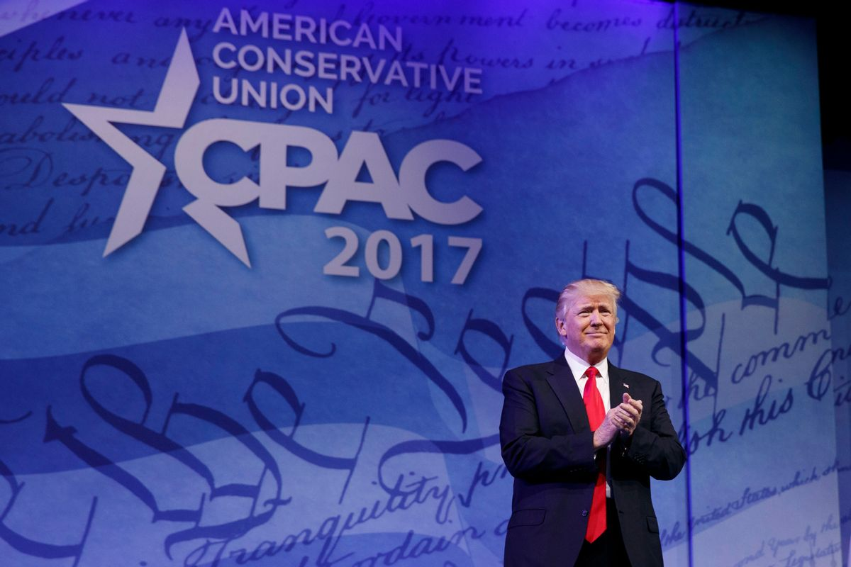 President Donald Trump arrives to speak at the Conservative Political Action Conference (CPAC), Friday, Feb. 24, 2017, in Oxon Hill, Md. (AP Photo/Evan Vucci) (AP)