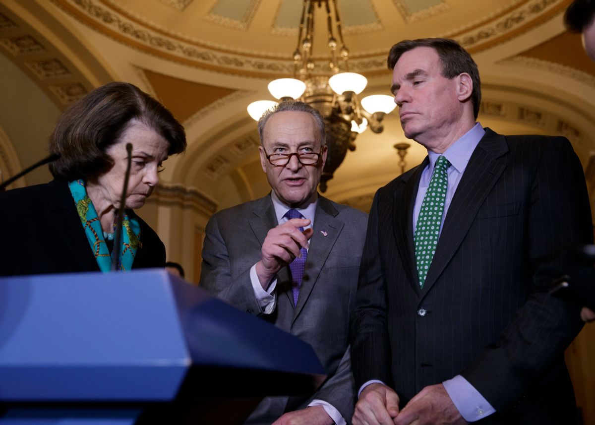 Senate Minority Leader Chuck Schumer of N.Y, center, joined by Sen. Dianne Feinstein, D-Calif., the ranking member of the Senate Judiciary Committee, left, and Sen. Mark Warner, D-Va., vice chair of the Intelligence Committee, right, calls for an investigation into President Donald Trump's administration over its relationship with Russia, including when Trump learned that his national security adviser, Michael Flynn, had discussed U.S. sanctions with a Russian diplomat, Wednesday, Feb. 15, 2016, during a news conference on Capitol Hill in Washington. (AP Photo/J. Scott Applewhite) (AP)