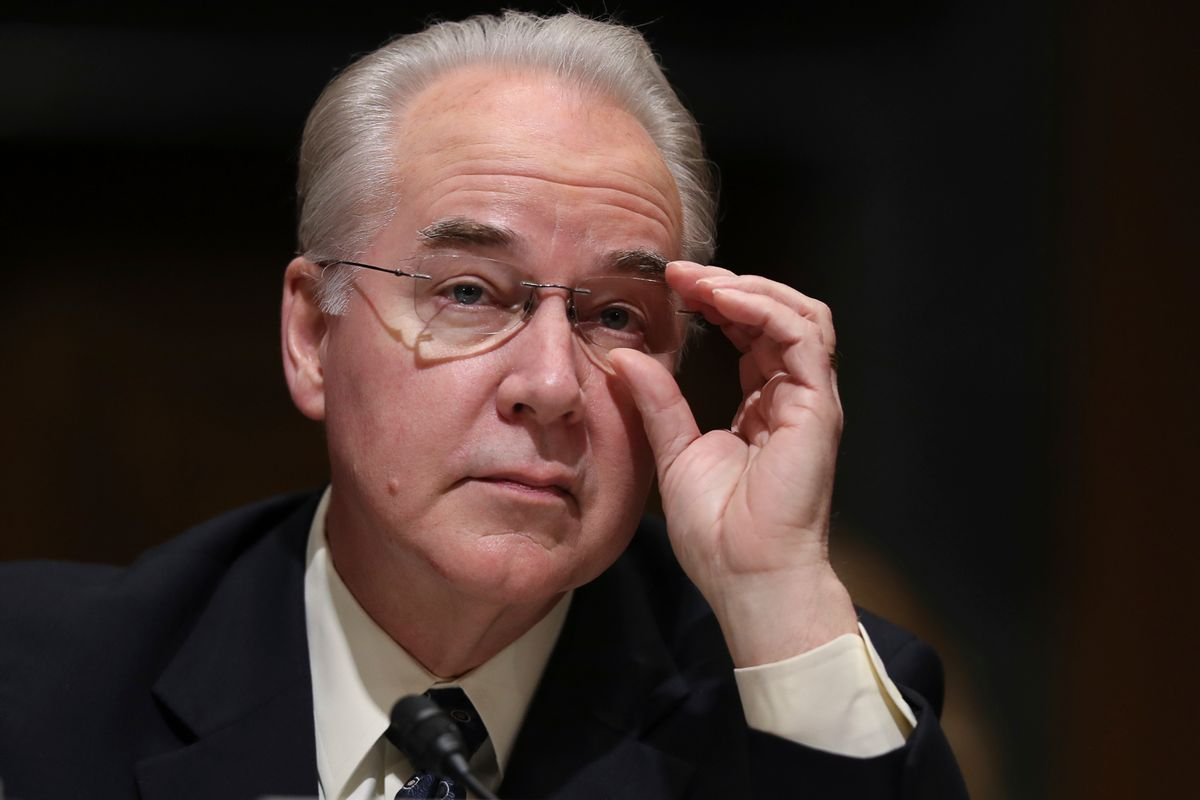 FILE - In this Jan. 24, 2017 file photo, Health and Human Services Secretary-designate, Rep. Tom Price, R-Ga. pauses while testifying on Capitol Hill in Washington at his confirmation hearing before the Senate Finance Committee. The Trump administration and congressional Republicans are considering a series of actions to stabilize health insurance markets for some 18 million people who buy their own policies.  (AP Photo/Andrew Harnik, File) (AP)