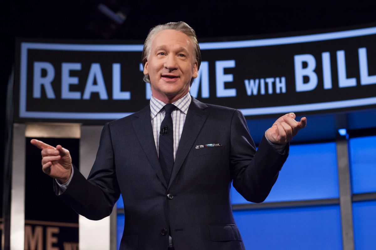 """This April 8, 2016 photo released by HBO shows Bill Maher, host of """"Real Time with Bill Maher,"""" during a broadcast of the show in Los Angeles. Controversial Breitbart editor Milo Yiannopoulos will join Maher on his political talk show on Friday, Feb. 17. (Janet Van Ham/HBO via AP) (AP)"""