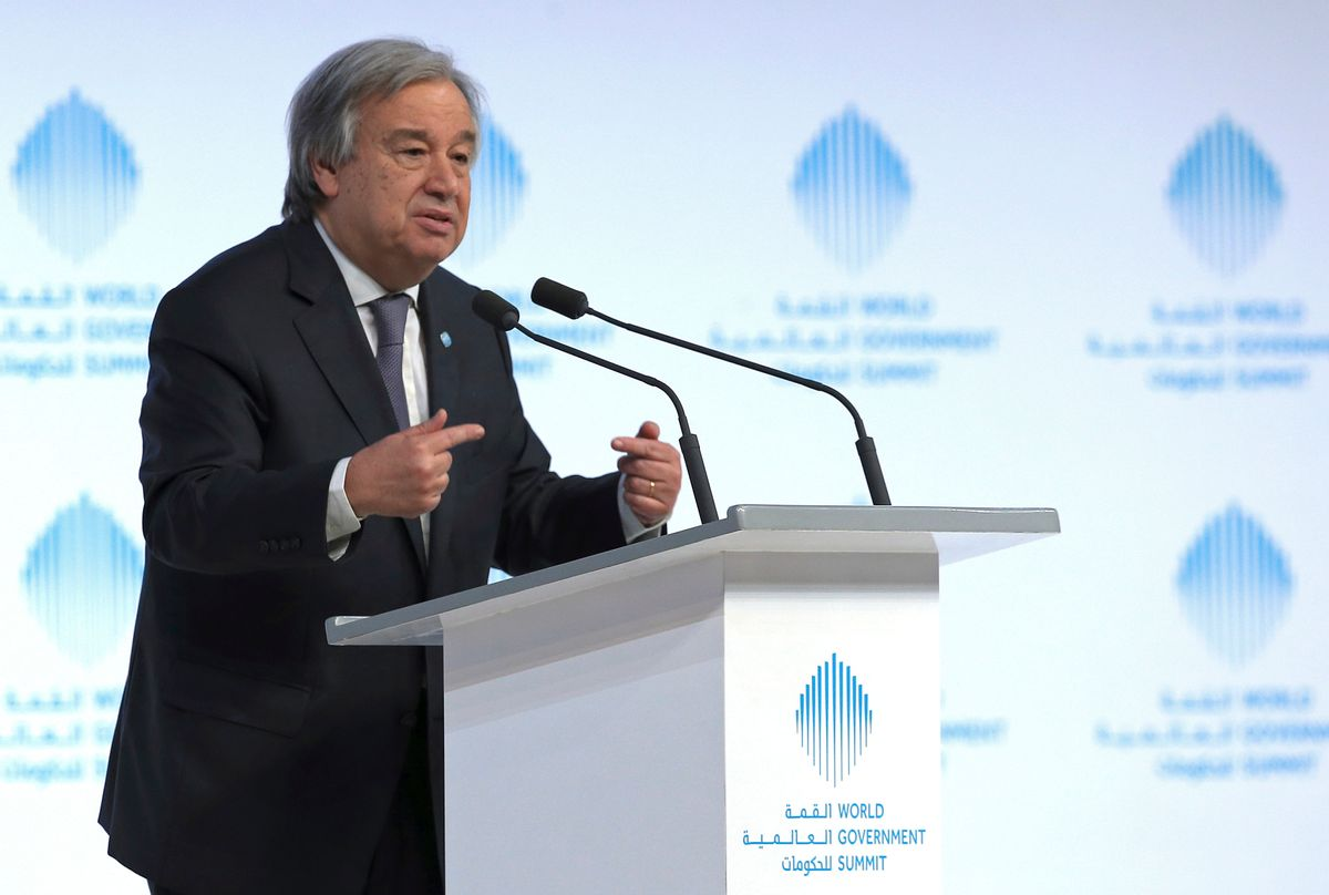 """The United Nations Secretary-General Antonio Guterres speaks during the 2nd day of the World Government Summit in Dubai, United Arab Emirates, Monday, Feb. 13, 2017. Guterres said Monday that he """"deeply regrets"""" the United States' decision to block a former Palestinian prime minister from leading the world body's political mission in Libya. Antonio Guterres says that Salam Fayyad was """"the right person for the right job at the right moment."""" (AP Photo) (AP)"""