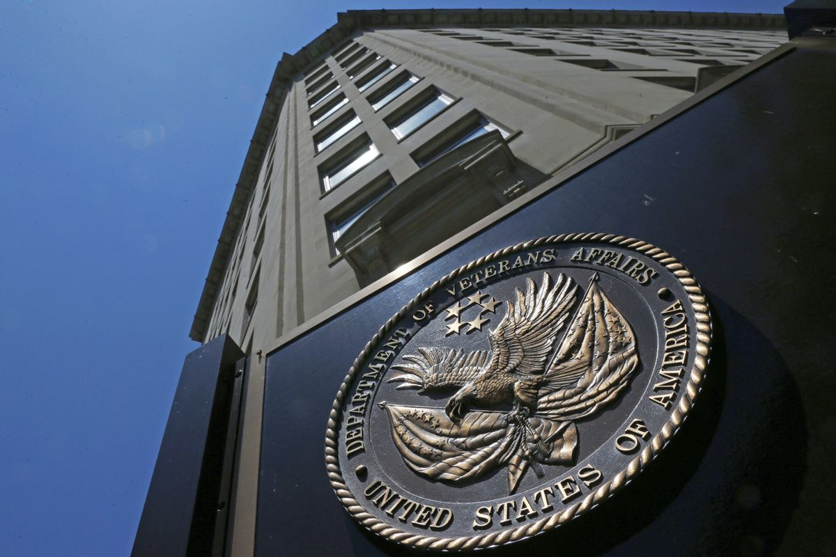FILE - In this June 21, 2013 file photo, the Veterans Affairs Department in Washington. Federal authorities are stepping up investigations at Department of Veterans Affairs medical centers due to a sharp increase in opioid theft, missing prescriptions or unauthorized drug use by VA employees since 2009, according to government data obtained by The Associated Press. (AP Photo/Charles Dharapak, File) (AP)