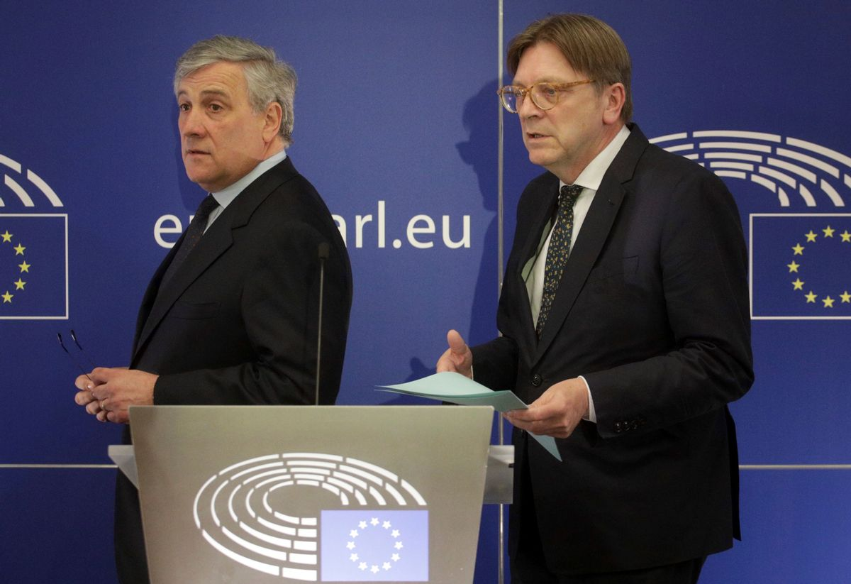 European Parliament President Antonio Tajani, left, and leader of the ALDE party Guy Verhofstadt prepare to address a media conference at the European Parliament in Brussels on Wednesday, March 29, 2017. (AP Photo/Olivier Matthys) (AP)
