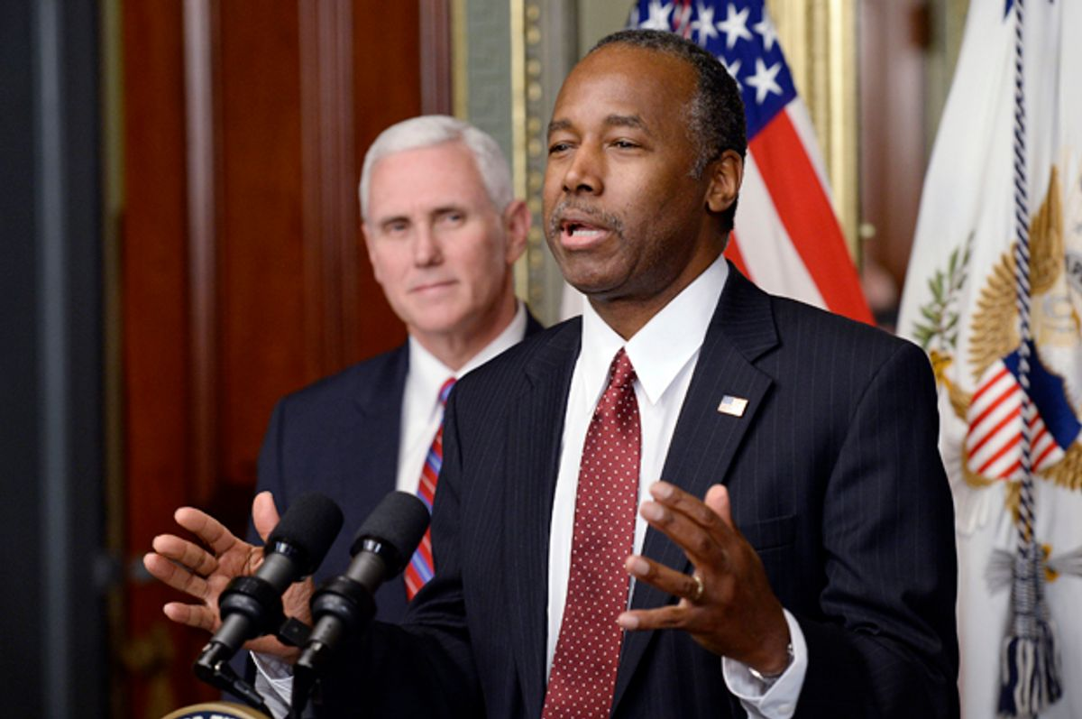 Dr. Ben Carson is sworn in as Secretary of Housing and Urban Development (AP/Olivier Douliery)
