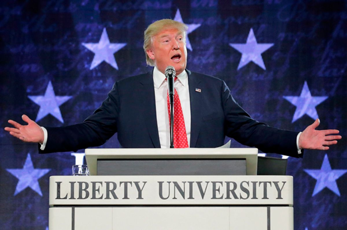 Donald Trump delivers the convocation at the Vines Center on the campus of Liberty University  January 18, 2016.   (Getty/Chip Somodevilla)