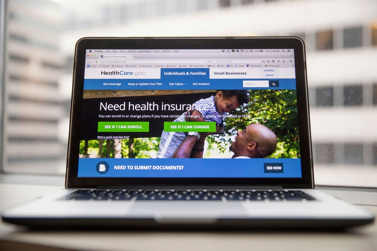 This Thursday, Feb. 9, 2017 photo shows the HealthCare.gov website, where people can buy health insurance, displayed on a laptop computer screen in Washington.  (AP Photo/Andrew Harnik)