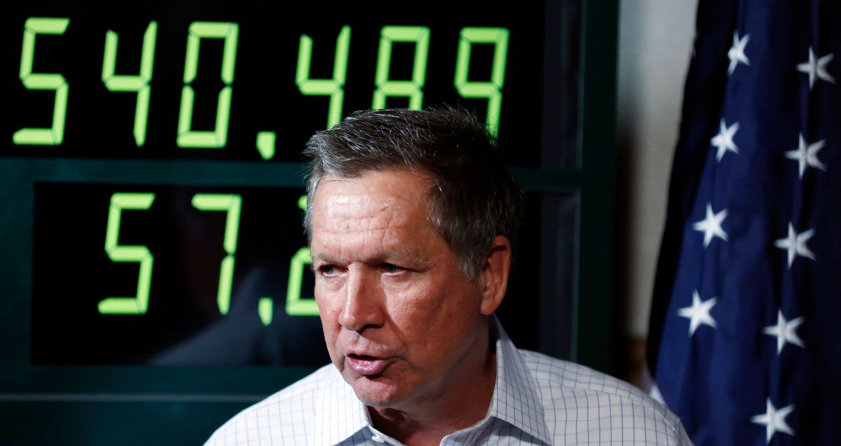 FILE – In this Oct. 23, 2015, file photo, Ohio Gov. John Kasich, a Republican presidential candidate, speaks during a balanced budget discussion with business leaders in Manchester, N.H. As the U.S. national debt ticks toward $20 trillion, Kasich says he is not abandoning his goal of a federal balanced-budget amendment, telling The Associated Press in a Tuesday, March 21, 2017, interview that the issue isn't partisan but critical to sustained economic prosperity. (AP Photo/Jim Cole, File) (AP)