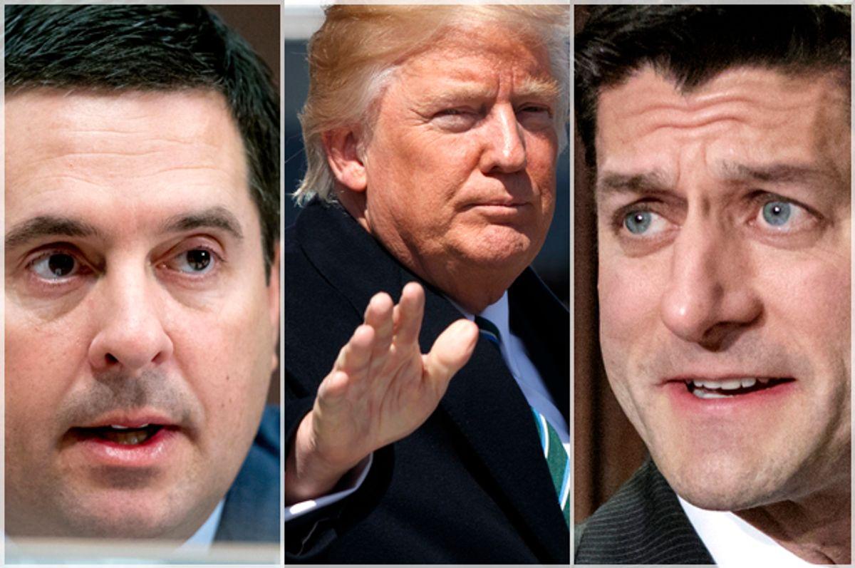 Devin Nunes; Donald Trump; Paul Ryan   (AP/Andrew Harnik/Evan Vucci/J. Scott Applewhite)